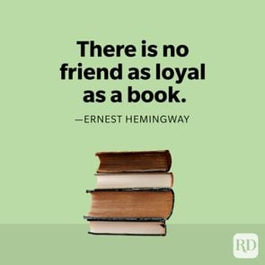 Ernest hemingway quote with stack of books