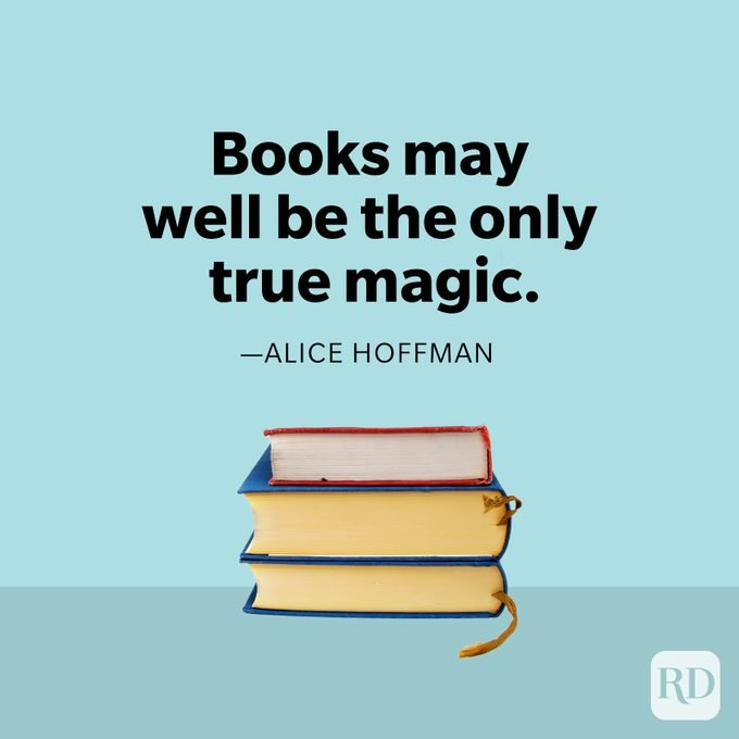 Alice Hoffman quote with stack of books
