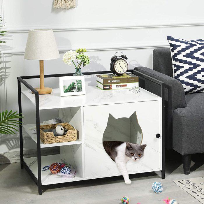 MSmask Hidden Cat Litter Box Enclosure with Shelves