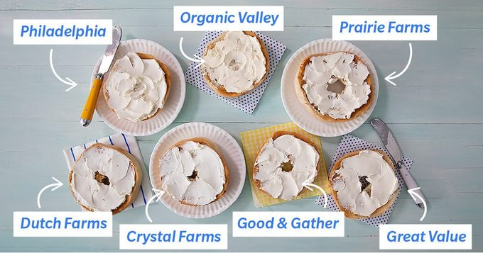 Cream Cheese on bagels with different brands labeled