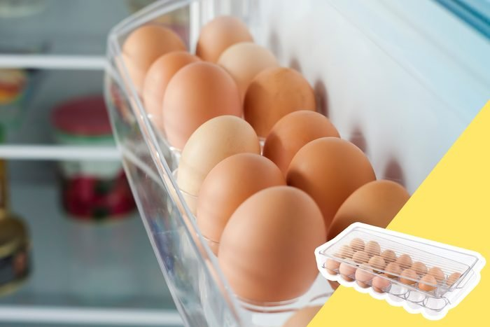 Eggs In the fridge Door with inset of egg container