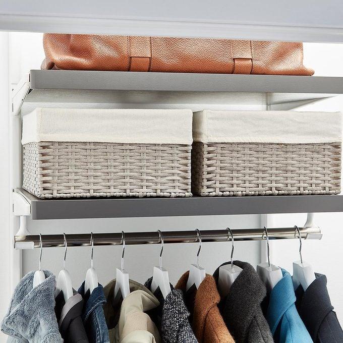 Fabric baskets for closet storage