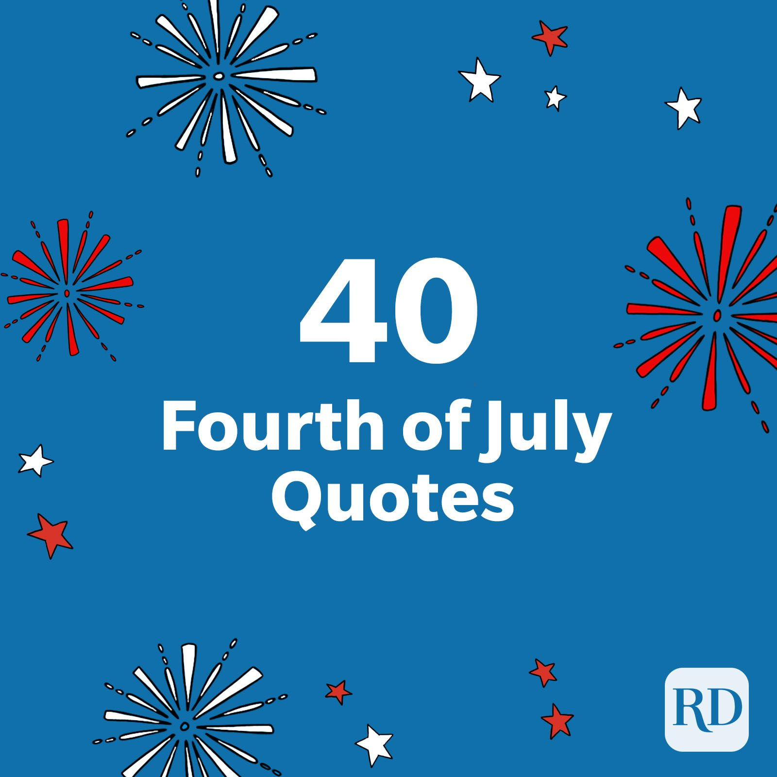"""""""40 Fourth of July quotes"""" with firework and star illustrations on blue"""