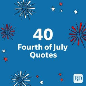 40 Fourth of July quotes - with firework and star illustrations on blue