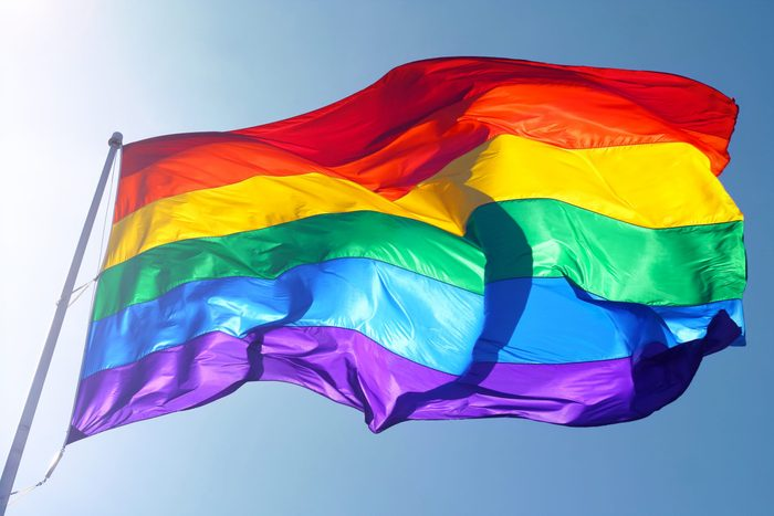 rainbow flag is waving in the wind with sun shining through