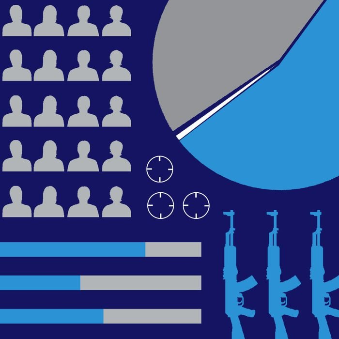 Abstract graph elements and guns on navy background