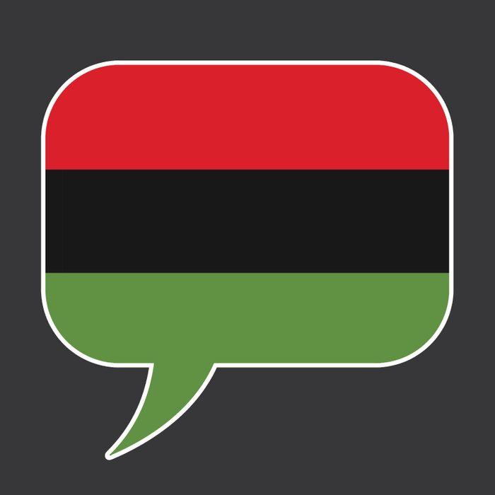 Pan-African flag in speech bubble