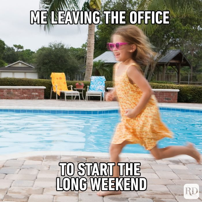 Meme text: me leaving the office to start the long weekend