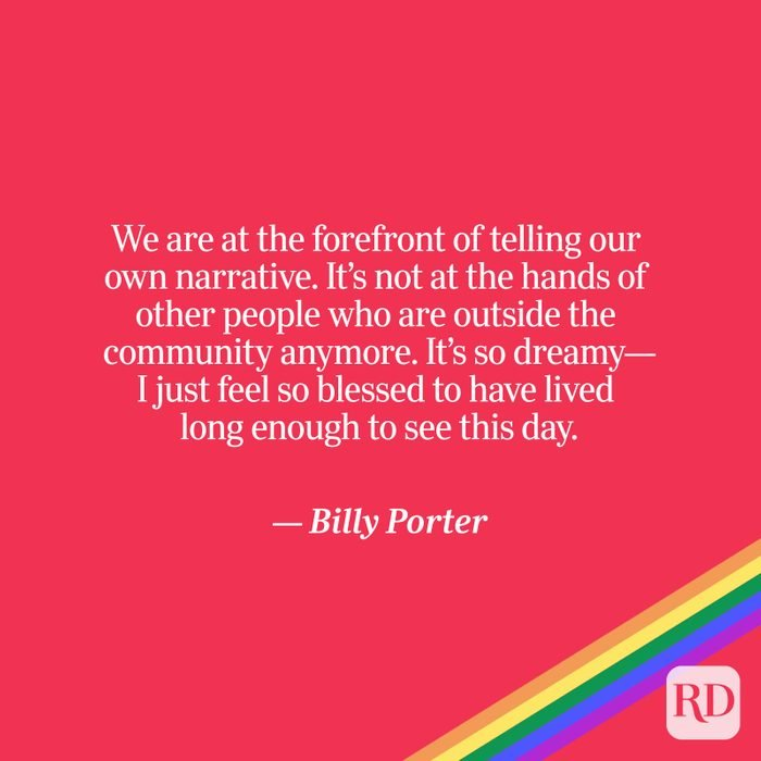 Porter quote on red with rainbow accent