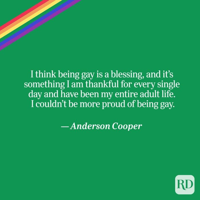 Cooper quote on green with rainbow accent