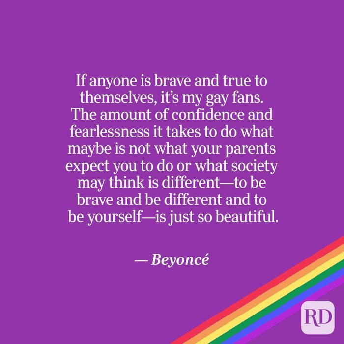 Beyoncé quote on purple with rainbow accent