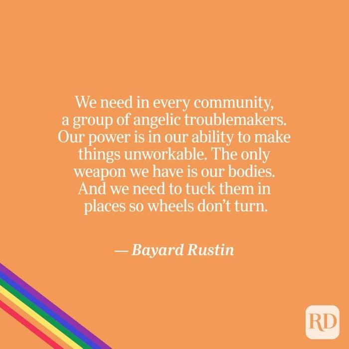 Rustin quote on orange with rainbow accent