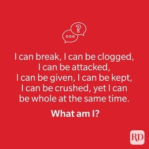 Riddle on red background