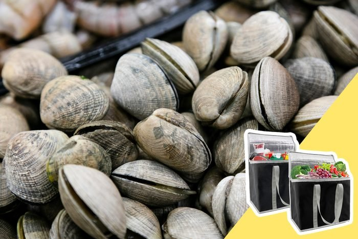 full screen of clams with inset of travel cooler bag