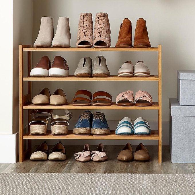 Shoe rack for coat closet