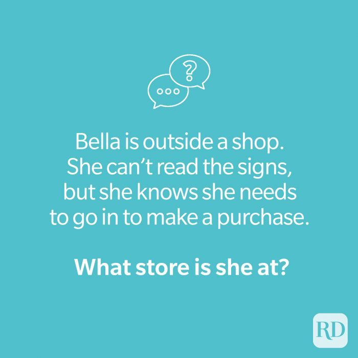 Store riddle on teal