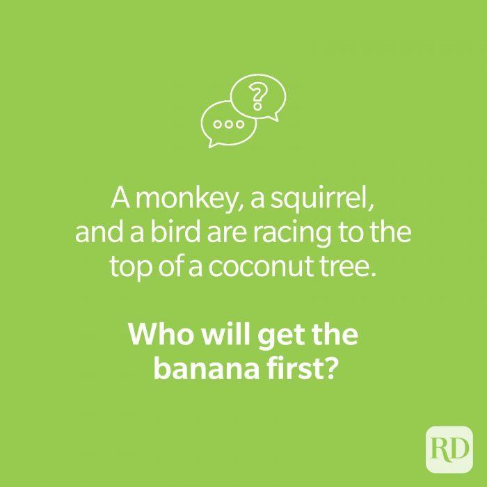 Banana riddle on green