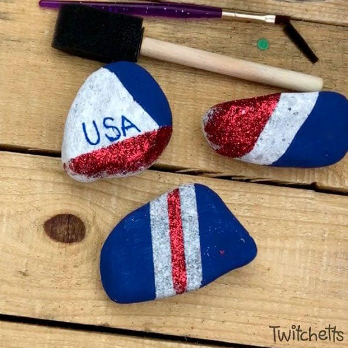 Sparkling Patriotic Rocks Kids Craft