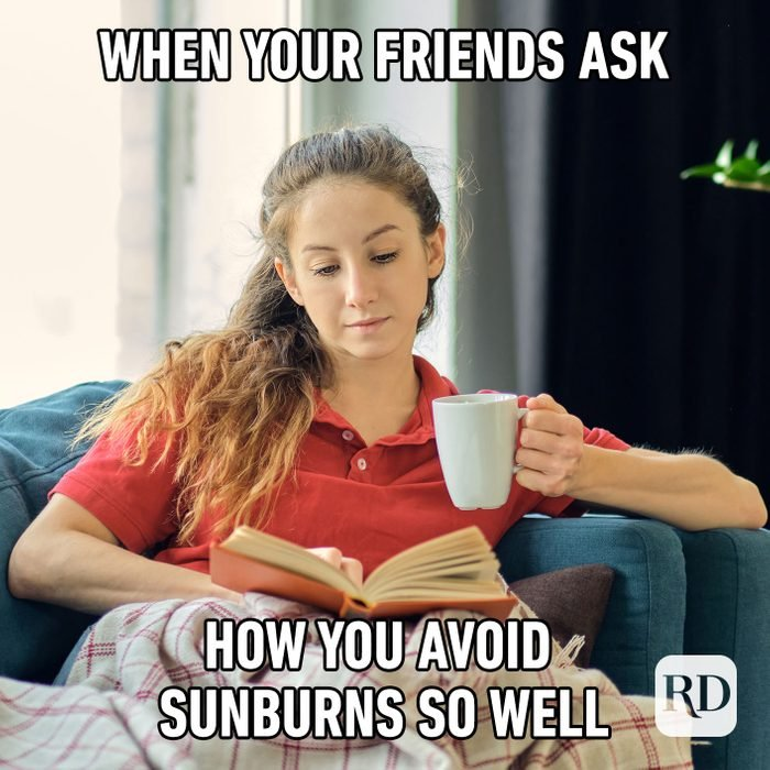 Meme text: When your friends ask you how you avoid sunburns so well