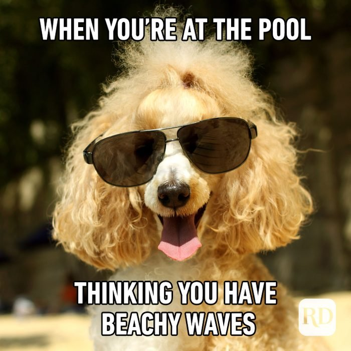 Meme text: When you're at the pool thinking you have beachy waves