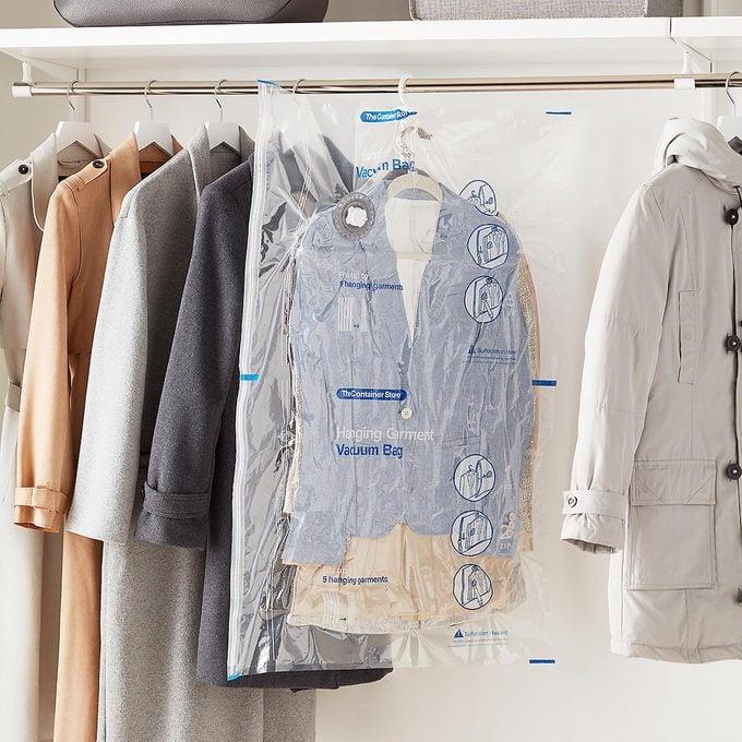 vacuum seal garment bag in coat closet