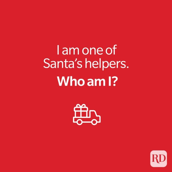 Christmas riddle with icon of pick-up truck carrying wrapped present