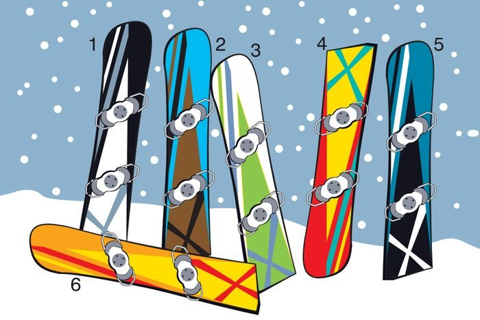 Illustration of six numbered snowboards in snow.