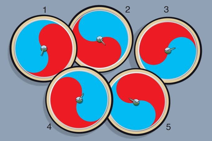 Illustration of five red and blue wheels on gray background