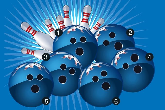 Illustration of numbered bowling balls and pins on blue background