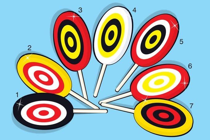 Illustration of seven lollipops on blue background