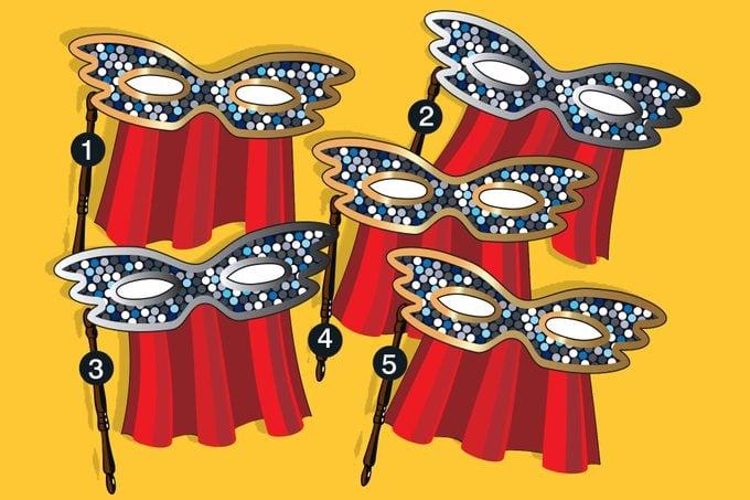 Illustration of five numbered carnival masks