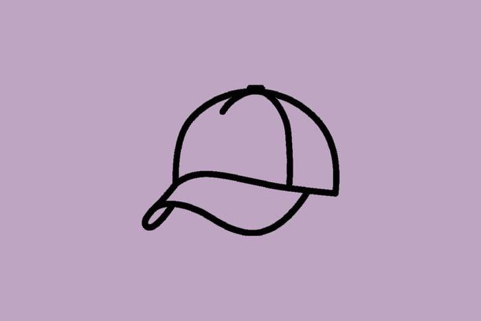plain hat on purple background