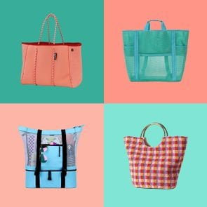 4 Cute Summer Beach Bags on pink and green square colored backgrounds