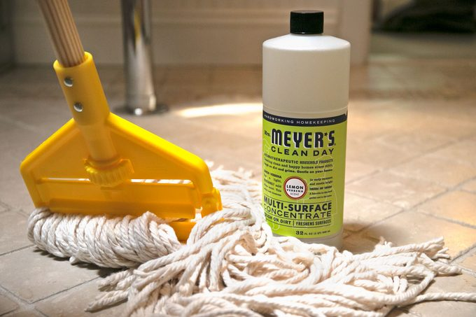 cleaning product and mop on tile bathroom floor