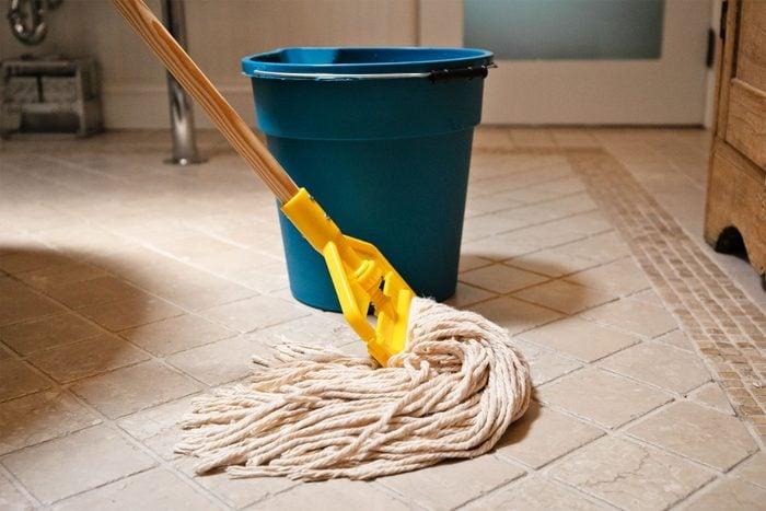 Mop and bucket on the bathroom floor