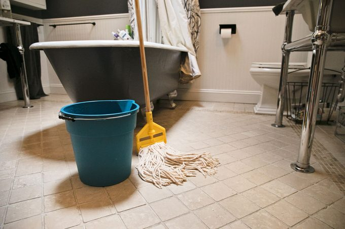 clean bathroom floor right after being mopped