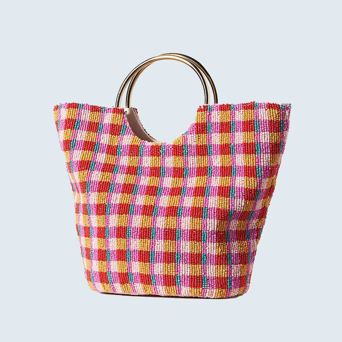 Anthropologie Ring Handle Gingham Clutch