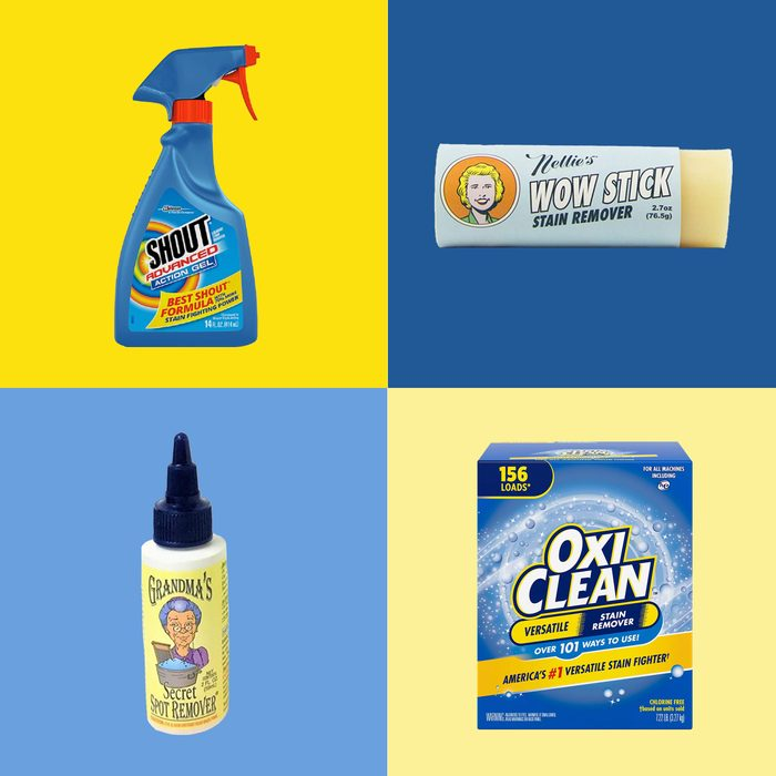 4 stain removers on yellow and blue backgrounds