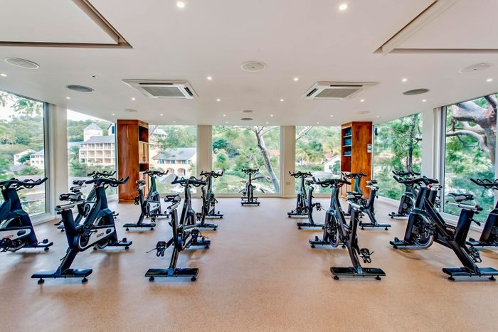 view of the indoor cycling studio at Bodyholiday, Saint Lucia