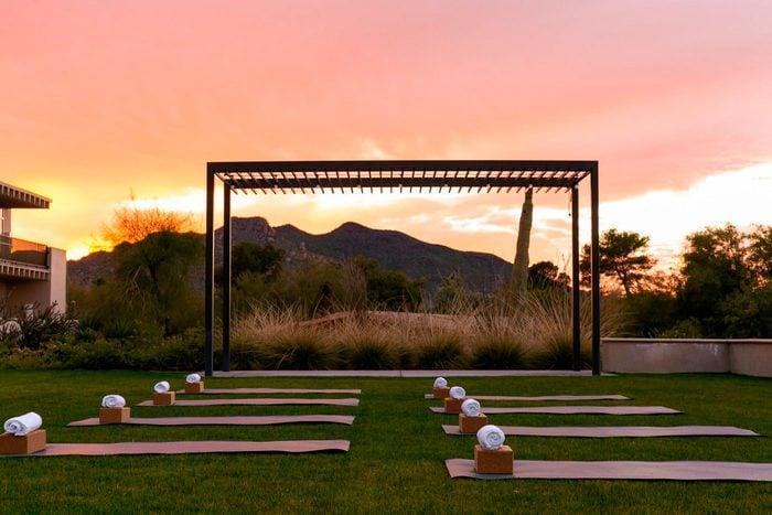 mats set up for an outdoor sunset yoga class at Civana Wellness Resort And Spa, Arizona