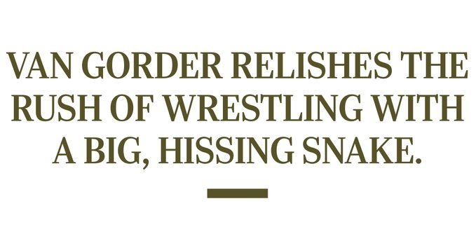 """Pull quote reads """"Van Gorder relishes the rush of wrestling with a big, hissing snake."""""""