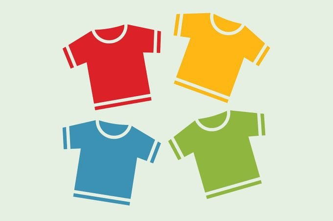 Four t-shirts of various colors: red, yellow, blue, and green