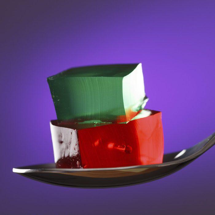 sugar free jello on a spoon