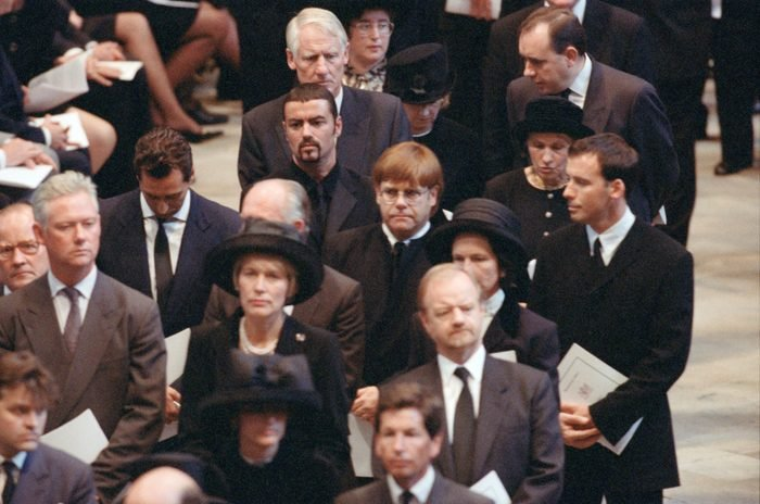 The funeral of Diana, Princess of Wales at Westminster Abbey, London. George Michael, Elton John and David Furnish