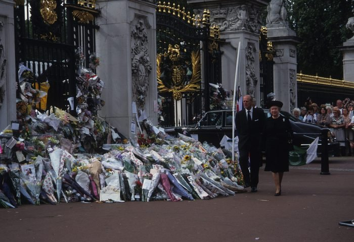 The public funeral of Diana, Princess of Wales, London, UK, 6th September 1997, Queen Elizabeth II and Prince Philip, Duke of Edinburgh