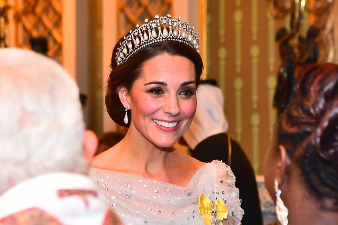 Catherine, Duchess of Cambridge greets guests at an evening reception for members of the Diplomatic Corps at Buckingham Palace on December 04, 2018 in London, England wearing the Cambridge Lover's Knot tiara