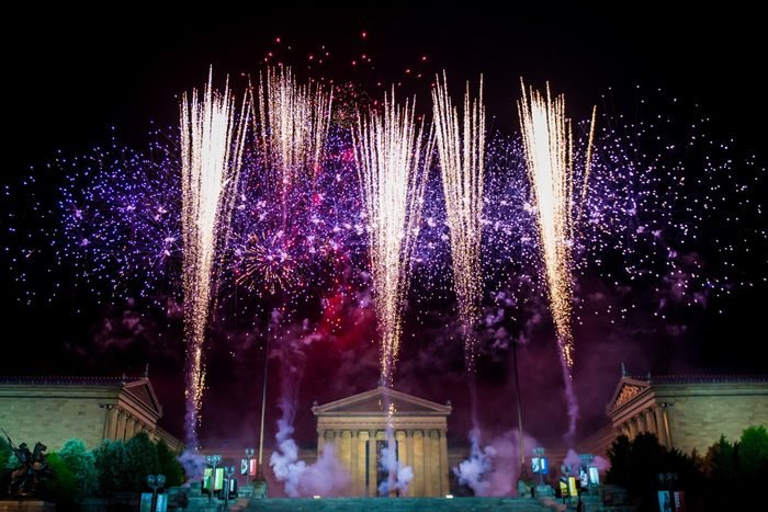 A view of fireworks over the Philadelphia Museum of the Art during Wawa Welcome America July 4th Concert at Benjamin Franklin Parkway on July 4, 2019 in Philadelphia, Pennsylvania.