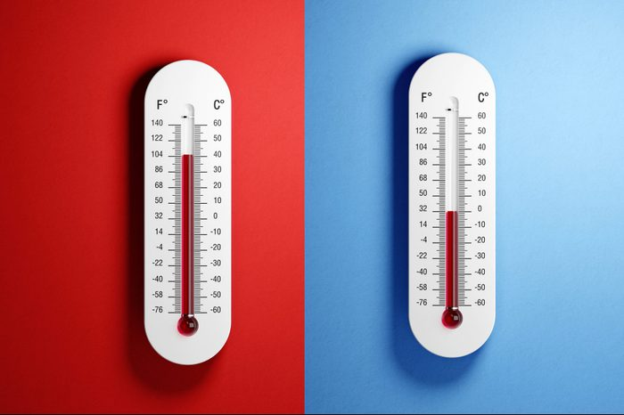Thermometers with high and low temperatures on red and blue backgrounds.