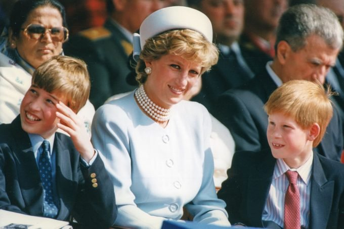Princess Diana with her sons, Prince William and Prince Harry, in May of 1995