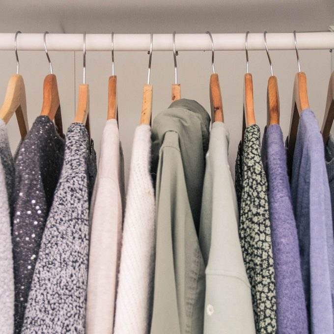 Clothes hanging in the wardrobe